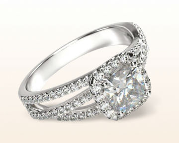 cushion halo engagement rings braided pave
