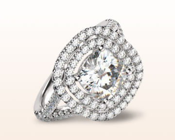 cushion halo engagement rings double cathedral