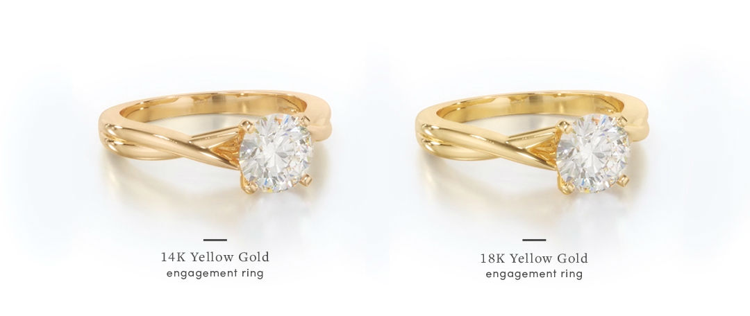 yellow gold engagement rings in 14k and 18k