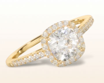 yellow gold engagement rings cushion cathedral halo diamond