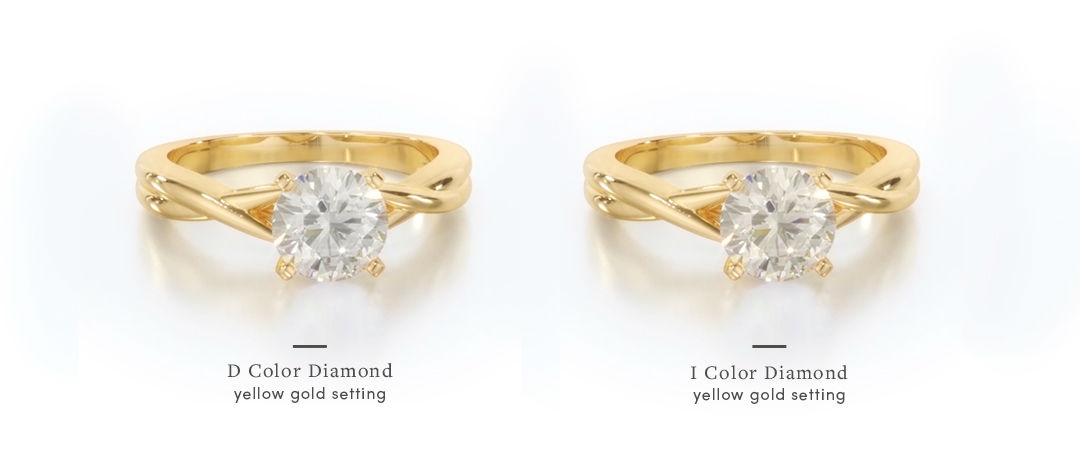 yellow gold engagement rings D and I stone comparison