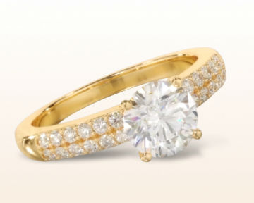 yellow gold engagement rings double row diamond