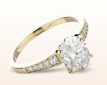 yellow gold engagement rings milgrain diamond