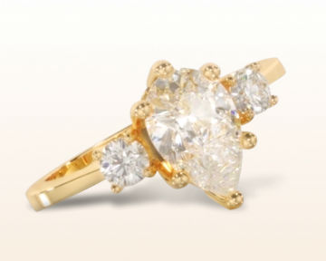 yellow gold engagement rings petite three stone diamond