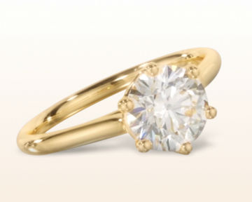 yellow gold engagement rings six prong cathedral basket