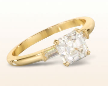 yellow gold engagement rings three stone baguette
