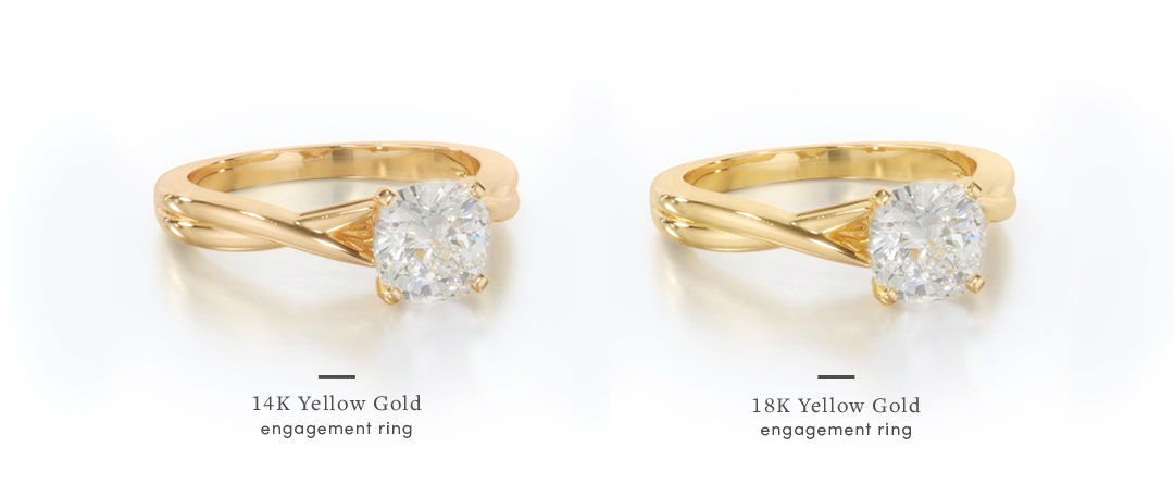 yellow gold cushion cut engagement rings with 14k vs 18k setting