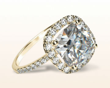 yellow gold cushion cut engagement rings pave halo