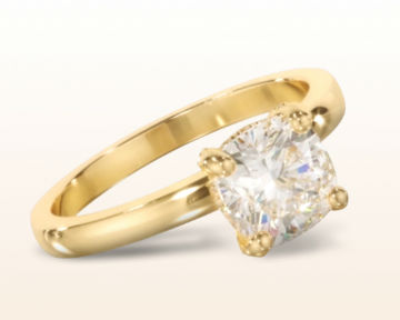 yellow gold cushion cut engagement rings diamond basket solitaire