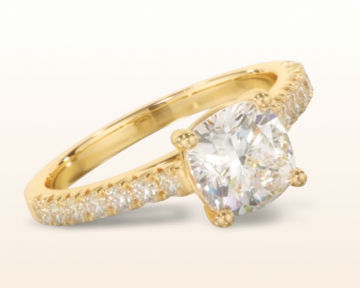 yellow gold cushion cut engagement rings french basket pave diamond