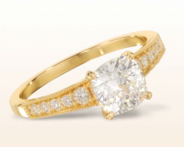 yellow gold cushion cut engagement rings milgrain diamond