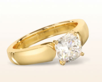 yellow gold cushion cut engagement rings open cathedral
