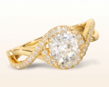 yellow gold cushion cut engagement rings open twisting