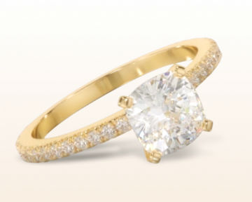 yellow gold cushion cut engagement rings petite french set diamond