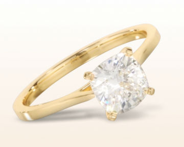 yellow gold cushion cut engagement rings sleek cathedral solitaire