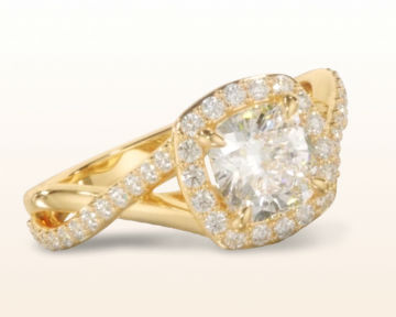 yellow gold cushion cut engagement rings swaying split shank halo