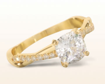 yellow gold cushion cut engagement rings vine diamond