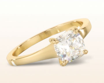 yellow gold cushion cut engagement rings widening solitaire