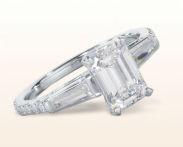 emerald cut three stone engagement rings tapered baguette