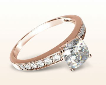 rose gold cushion cut engagement rings graduated pave