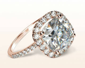 rose gold cushion cut engagement rings pave halo