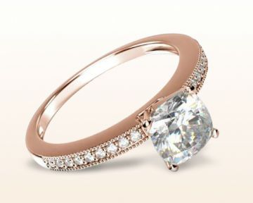 rose gold cushion cut engagement rings pave and milgrain