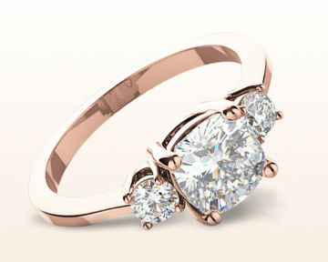 rose gold cushion cut engagement rings petite three stone