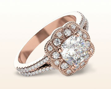 rose gold cushion cut engagement ring vintage flower