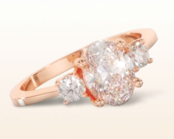 rose gold oval engagement rings petite three stone