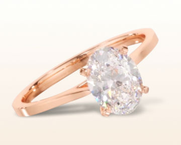 rose gold oval engagement rings sleek cathedral solitaire