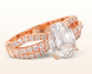 rose gold oval engagement ring split three row