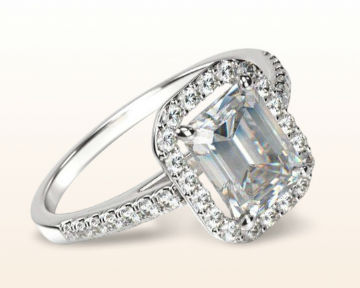 emerald cut halo engagement ring pave