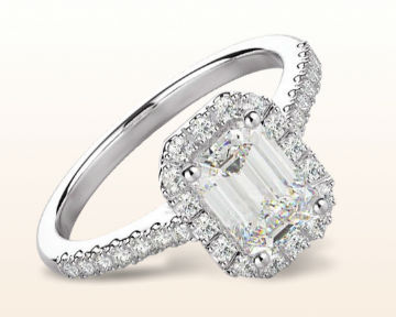 emerald cut halo engagement ring paved