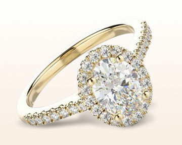 yellow gold oval engagement rings paved halo