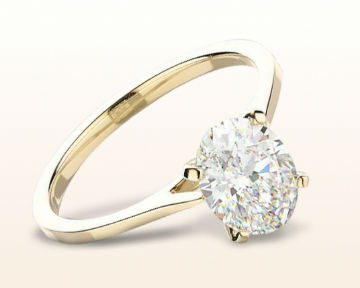 yellow gold oval engagement rings sleek cathedral solitaire