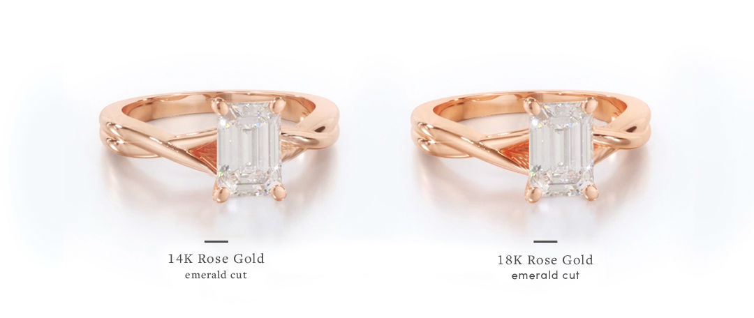 rose gold emerald cut engagement rings 14k vs 18k setting