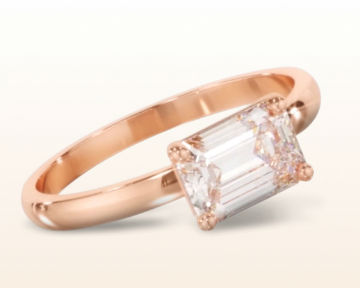 rose gold emerald cut engagement rings classic four prong east west