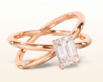 rose gold emerald cut engagement rings crisscross