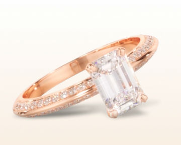rose gold emerald cut engagement rings duet pave