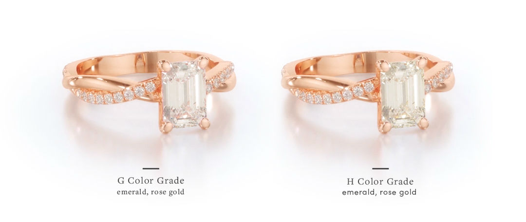 rose gold emerald cut engagement rings diamond color comparison