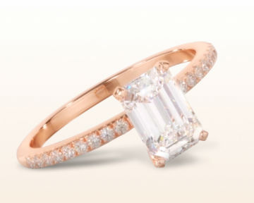 rose gold emerald cut engagement rings micropave