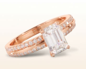 rose gold emerald cut engagement rings pave edged