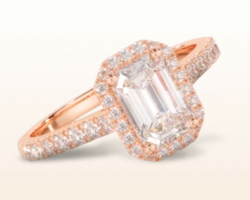 rose gold emerald cut engagement rings paved halo