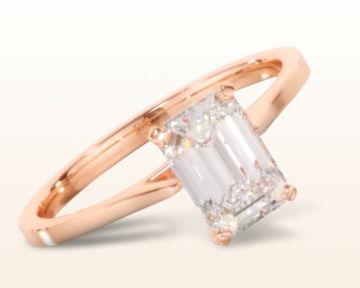 rose gold emerald cut engagement rings sleek cathedral solitaire