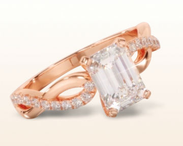 rose gold emerald cut engagement rings weaving diamond pave