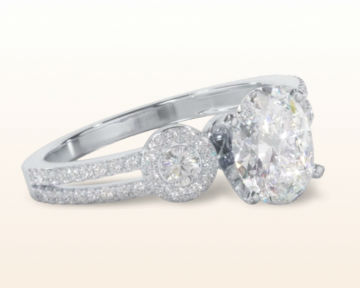 oval three stone engagement rings accent halo
