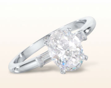 oval three stone engagement rings baguette