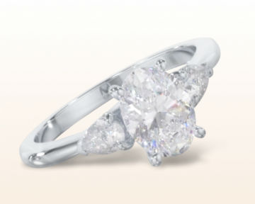 oval three stone engagement rings pear diamond