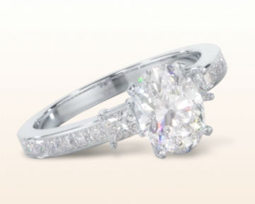 oval three stone engagement rings princess accent