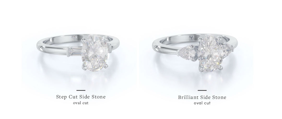 oval three stone engagement rings side stone comparison